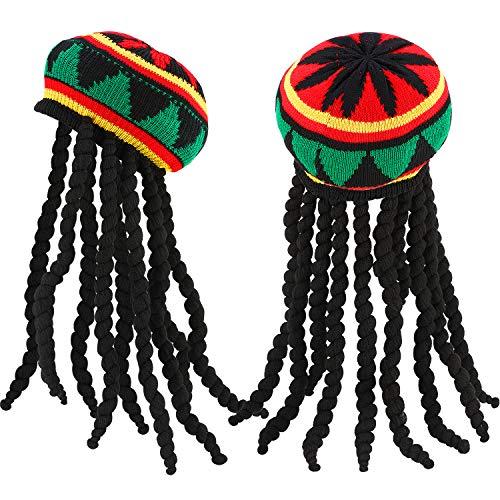 Rasta Dreads Hat (SATINIOR 2 Pack Rasta Hat with Black Dreadlocks Wig Rasta Wig with Cap for Costume)
