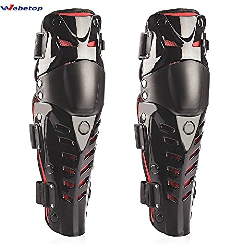 Webetop Knee Shin Guards Adult 1 Pair Flexible Breathable Adjustable High-Impact PE+EVA Motorcycle Motocross MTB Knee Pads for Riding Cycling-One Size Fits Most,Black & Red