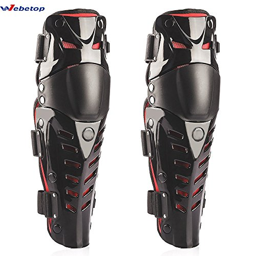 Webetop 1 Pair Adult Knee Shin Guards Flexible Breathable Adjustable High-Impact PE+EVA Motorcycle Motocross MTB Knee Pads for Riding Cycling-One Size Fits Most,Top Quality and Comfortable,Black & Red