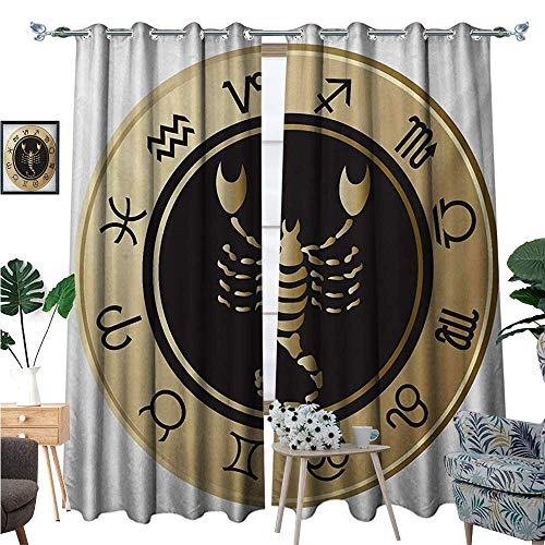 BlountDecor Zodiac Scorpio Thermal Insulating Blackout Curtain Twelve Signs in a Circle with Scorpion in The Middle Astrology Future Patterned Drape for Glass Door W72 x L96 Gold Black White for $<!--$71.31-->