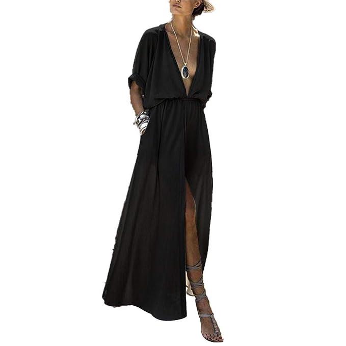 6a02e311e1e Women s Deep V Long Sleeve Slim Split Maxi Dress at Amazon Women s ...