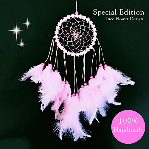 Dream Catchers for Bedroom Decor – Pink Native American Handmade Home Wall Hanging Decoration Ornament Craft Gifts for Parents in Brown Blue Purple White Multi Color Design Suit Balcony & Car Charm ()