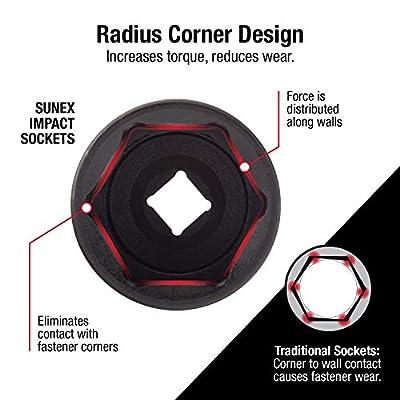 Sunex 224XD, 1/2 Inch Drive, 3/4 Inch Extra Long Deep, Impact Socket, Cr-Mo Alloy Steel, Radius Corner Design, Dual Size Markings: Home Improvement