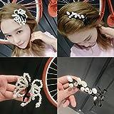 usongs Korea imports 88 pearl bow zircon bangs clip duckbill clip hair ornaments spring elegant buckle black and white