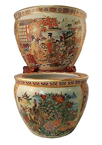 Japanese Satsuma Peacock Vase (18'' W x 15'' H | Base 11.5'') by Oriental Furnishings