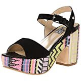 Love Moschino Women's Ethnic Print Wedge Sandal, Green, 37 BR/7 M US