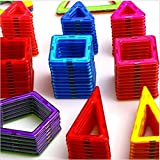 colored shapes - Magnetic Toy Building Block Tiles Set For Kids or Toddlers/100+pieces/ 3-D Shapes and Colors/ Educational Construction Blocks/ Free Storage Case/NEXT GENERATION: STRONGER MAGNETS/BUILDS FERRIS WHEEL