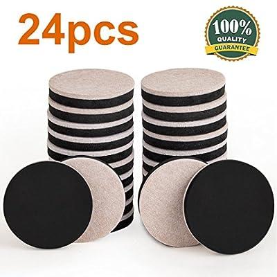Ezprotekt 24PCS Furniture Sliders 2.5 Inch Felt Sliders Furniture Pads For Hardwood Floors And All Hard Surfaces