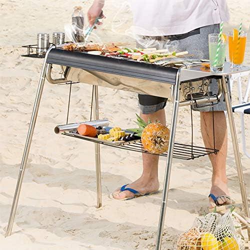 2 en 1 Grill Barbecue À Charbon De Acier Inoxydable 401 Barbecue Grill De Portable avec Poignée Et Kits D'outils pour Barbecue pour Jardin Extérieur