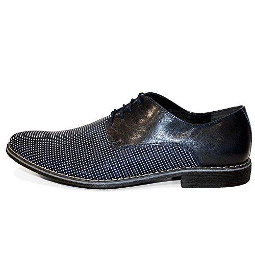 Oxfords Modello Italiennes Peppeshoes Pour Handmade Lacer Des Croppio Vachette Souple Bleu Cuir Chaussures Hommes Marine De wqdAAxPH
