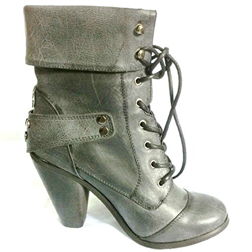 New Womens Ladies Fashion Military Army Shoes HIGH Heel Ankle Boots Size UK F-85 Black 0VoY5L
