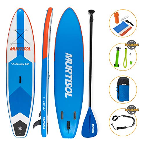 Murtisol Upgrade 11' Inflatable Stand Up Paddle Board, Ultra-thick Durable PVC, Non-Slip Deck, Premium SUP Accessories, Dual-Action Pump, Safety Ankle Strap, Adjustable Paddle, Backpack, Repairing kit