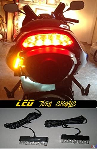 2x Universal Motorcycle Bike LED Amber Turn Signal Light Indicator Blinker Lamp