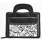Black and White Flower 7.6 x 10.6 Briefcase Style Leather Like Vinyl Bible Cover Large