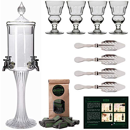 Set Fountain - Absinthe Fountain Set Heure Verte | 1x Absinthe Fountain | 4x Absinthe Glasses | 4x Absinthe Spoons | 1x Absinthe Sugar Cubes | Drink Absinthe the traditional way!