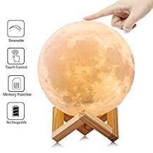 LOL Lighting Full Moon Lamp Light 3D Printed Dimmable Cool White Warm Yellow Kid Baby Night Light LED Cordless Battery Operated Touch Sensor Desk Table Beside Lamp for Room Decor, Diameter 5.9Inch