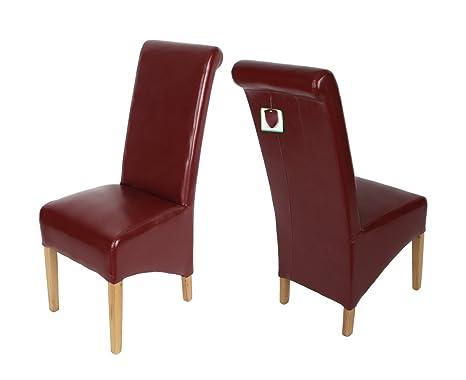 Alice 2 x moderna in cuoio rigenerato e quercia scroll top sedie a