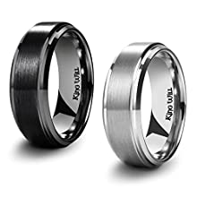 King Will Basic Men's Black Titanium Carbide Ring 8mm Polished Beveled Stepped Edge Matte Brushed Finish Center Wedding Band 2Pcs Set 8.5