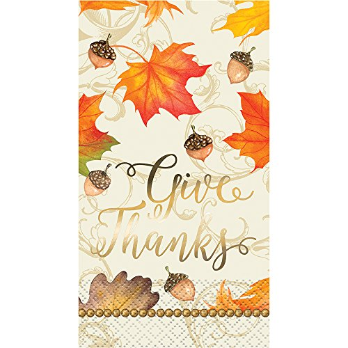 Foil Gold Fall Leaves Thanksgiving Paper Guest Napkins, 16ct