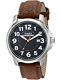 T44921 Men's Expedition Metal Field Brown Leather Strap Watch