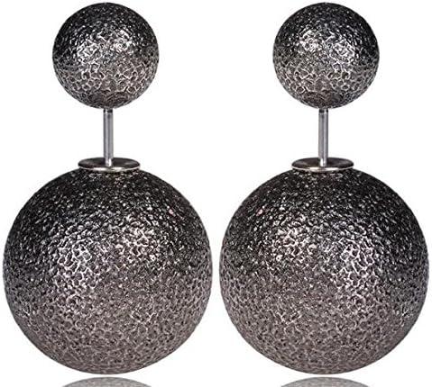 Boucles D Oreilles Double Boule Perle Face Ronde Femmes Clou Couleur Noir Neuf Amazon Fr Bijoux