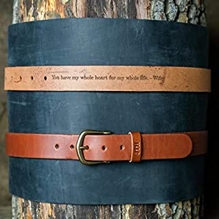 product image for No. 102 Fine Leather Belt in Chestnut Brown – Personalized Custom Belt – with Secret Message – Rounded Brass Buckle