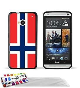 """Carcasa Flexible Ultra-Slim HTC ONE de exclusivo motivo [Bandera Noruega] [Negra] de MUZZANO  + 3 Pelliculas de Pantalla """"UltraClear"""" + ESTILETE y PAÑO MUZZANO REGALADOS - La Protección Antigolpes ULTIMA, ELEGANTE Y DURADERA para su HTC ONE"""