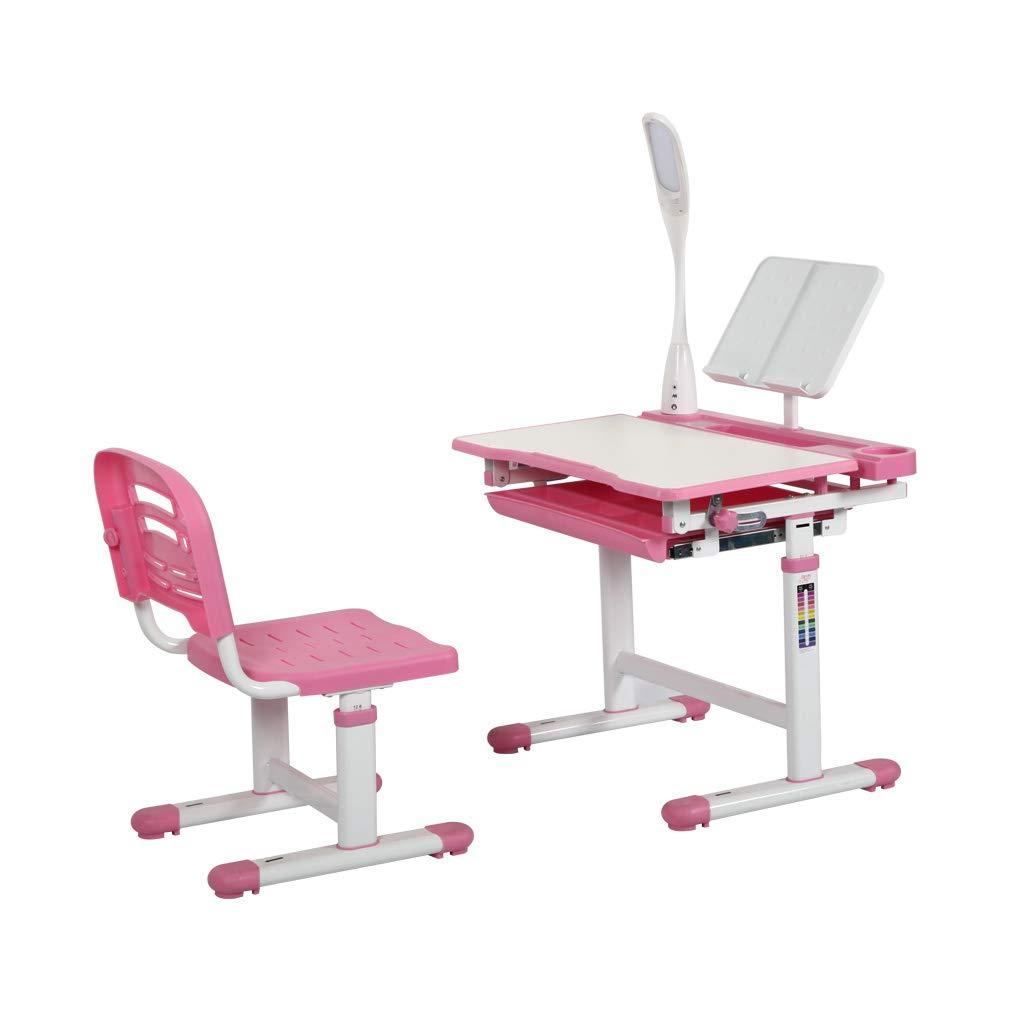 Bookstand Diroan Kids Functional Desk and Chair Set Pink Metal Hook and Storage Drawer for Boys Girls LED Light Height Adjustable Children School Study Desk with Tilt Desktop