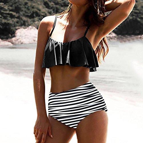 Bikini Pièce Slim 2 Femmes Set Volant Ethnique Maillots Sling Split Monokini Beachwear De Trikini Push Impression Haute Femme Taille Sexy Adeshop Style Noir Amincissant up Bain Chic wAqBw