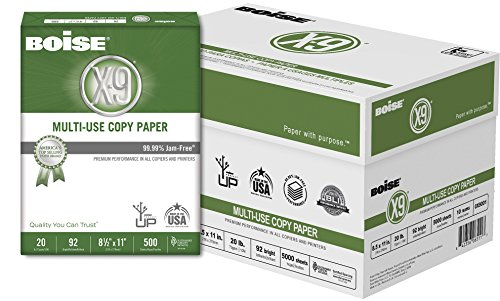 BOISE X-9 Multi-Use Copy Paper, 8.5 x 11, 92 Bright White, 20 lb, 10 ream carton (5,000 Sheets) by Boise