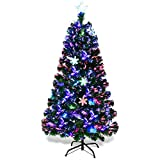Goplus 5FT Artificial Christmas Tree Pre-Lit Fiber Optic Premium Spruce Hinged Tree W/UL Certified Multicolored LED Lights & Metal Stand