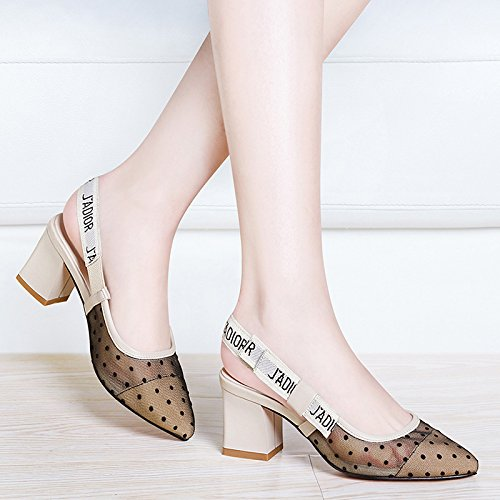 evening heeled Shoes Pumps HUAIHAIZ shoes yarn net High Sandals Heels Court Beige Sandals female high PTXg7Txq