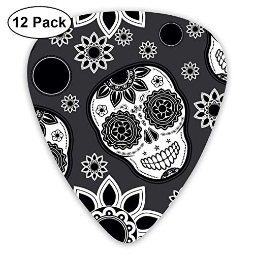 Anticso Custom Guitar Picks, Halloween Sugar Skull Grey Flower Guitar Pick,Jewelry Gift For Guitar Lover,12 Pack]()