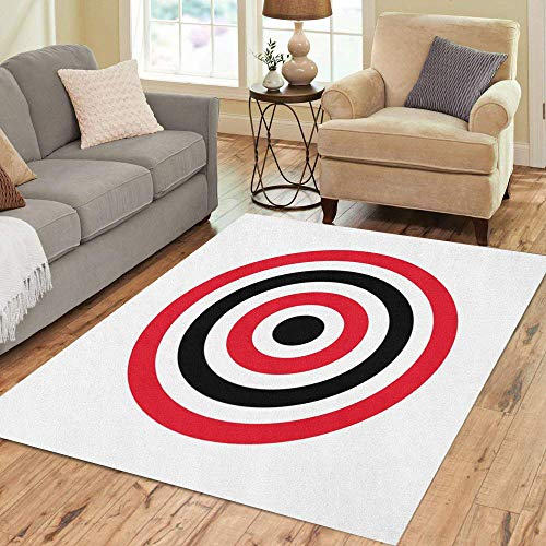 3' Round Bullseye - Semtomn Area Rug 3' X 5' Red Aim Circle of Target Archery Shoot Yellow Bullseye Home Decor Collection Floor Rugs Carpet for Living Room Bedroom Dining Room