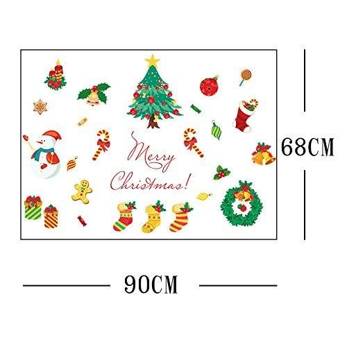 Yesfeel Christmas Wall Decals Stickers Ornaments For Living Room And Bedroom, Christmas Stockings,Santa Claus, Candy Cane, Waving Snowmen christmas wreath, Perfect Décor For Home and Shop Windows. by Yesfeel (Image #3)