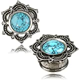 Earth Accessories Silver Color Earring Plug with Turquoise Stone, Assorted Sizes