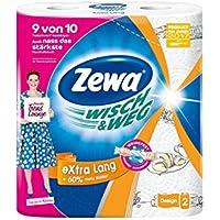 Zewa Wisch und Weg Riesen Küchenrollen Extra Lang, saugstarke Wischtücher, 1 x 2 Rollen (2 x 72 Blatt)