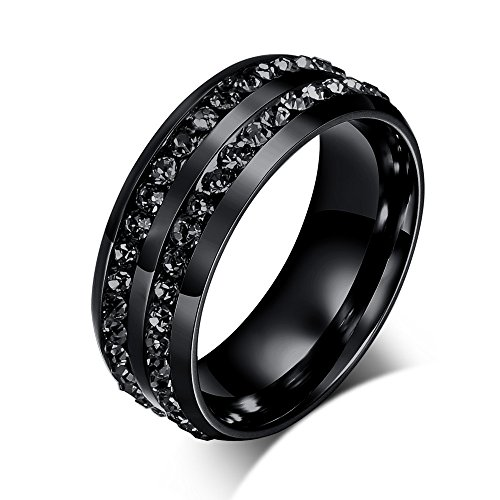 Stainless Steel Black Double 2-row of Rhinestone CZ Eternity Wedding Ring Bands for Men Women,size 10 (Two Row Stainless Steel Ring)
