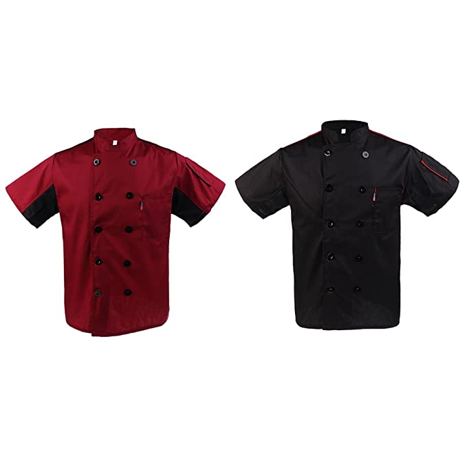 2pcs Unisex Cuoco Chef Giacche Cappotto Giacca Camicia T-shirt Uniformi da