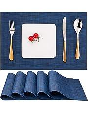 Myir JUN bordstabletter tvättbar 6-pack, vävda bordsunderlägg tvättbara halkfria greppsäkra värmebeständiga, vinyl bordstabletter tvättbara för kök matbord hotell, platsmattor 30 x 45 cm