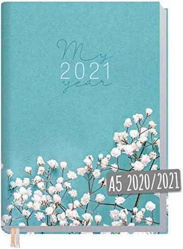 Chäff-Timer Classic A5 Kalender 2020/2021 [Weiße Blüten] Terminplaner 18 Monate: Juli 2020 bis Dez. 2021 | Wochenkalender, Organizer, Terminkalender mit Wochenplaner - nachhaltig & klimaneutral