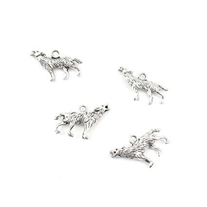 2d61ba7e88 20 Pieces Jewelry Making Charms PQPN09 Wolf Pendant Ancient Silver Findings  Craft Supplies Bulk Lots