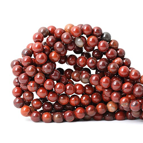 (CHEAVIAN 45PCS 8mm Natural Red Jasper Gemstone Round Loose Beads for Jewelry Making DIY Findings 1 Strand 15
