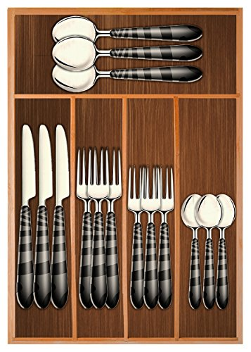 Chef Essential Bamboo Utility Drawer Organizer, Kitchen Silverware tray, 5-Compartment, Your Drawer Will Look Super Neat with This Bamboo Divider, Great Gift Idea for Your Loved (Flatware Drawer Organizer)