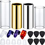 Gejoy 4 Pieces Guitar Slides Set, 6 Pieces Guitar Picks, 4 Pieces Finger Picks and 5 Pieces Clear Guitar Finger Protectors with Plastic Box (Clear and Silver)
