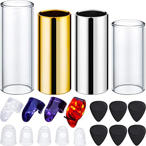 Gejoy 4 Pieces Guitar Slides Set, 6 Pieces Guitar Picks, 4 Pieces Finger Picks and 5 Pieces Clear Guitar Finger Protectors with Plastic Box (Clear and Silver) (4 Set Pick Guitar)