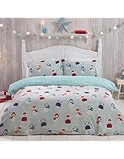 Sleepdown Jolly snögubbe jul-fleece sängkläder set med kuddöverdrag, 135 x 200 cm, blå, varm, mysig, supermjuk, lätt att rengöra, med gråa stjärnor