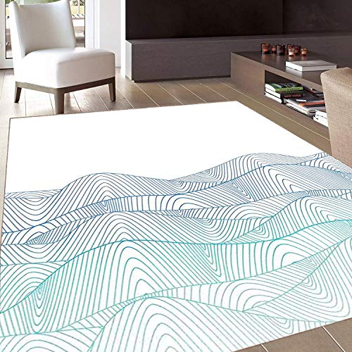 Rug,Floor Mat Rug,Blue and White,Area Rug,Ocean Seascape Abstraction with Wavy Line Composition Aquatic,Home mat,4'x6'Blue Turquoise and White,Rubber Non Slip,Indoor/Front Door/Kitchen and Living Room