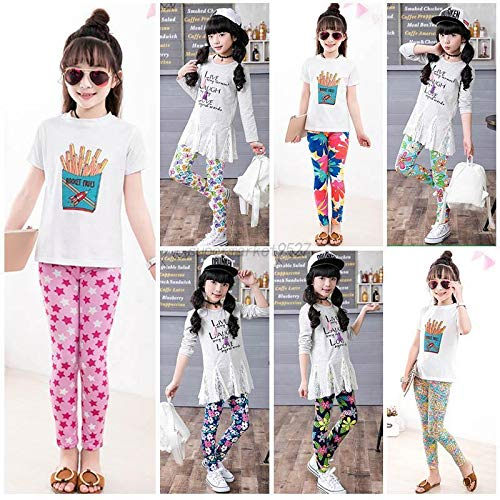 Style 2 2-3 Y Cute Girls Colorful Skinny Leggings Casual Kids Stretchy Pants Trousers 2-14Y