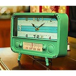 Retro TV Blue 10 Inch Tabletop Metal Clock